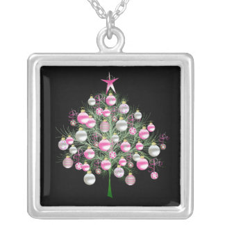 Pink Christmas Tree Sterling Silver Chain Square Pendant Necklace