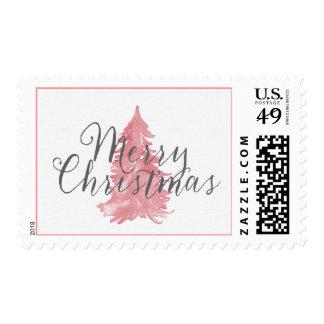 Pink Christmas Tree Whimsical Stamp