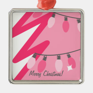 Pink Christmas Tree With Pink Chrismas Lights Metal Ornament