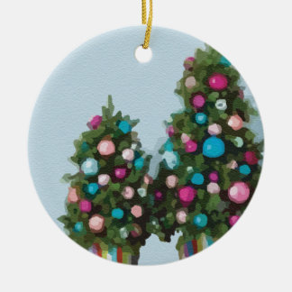 Pink Christmas Trees Super Cute Collection Ceramic Ornament