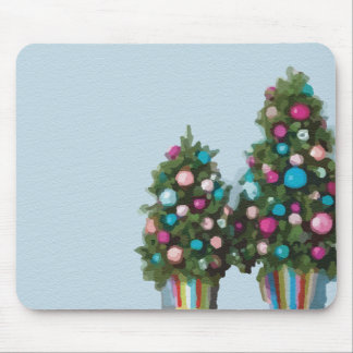 Pink Christmas Trees Super Cute Collection Mouse Pad
