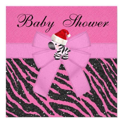 pink christmas zebra animal print baby shower square paper