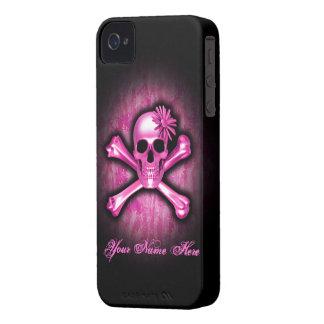 Pink Chrome Scull/Crossbones BlackBerry Bold Case