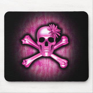 Pink Chrome Skull and Crossbones Mouse Pad