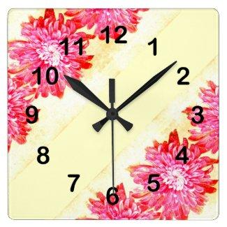 pink chrysanthemum in full boom wallclock