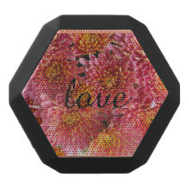 pink chrysanthemum with love black bluetooth speaker