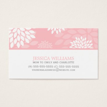 heartlocked Pink Chrysanthemums Floral Pattern Business Card