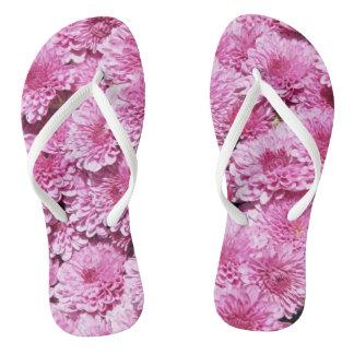 Pink chrysanthemums flip flops