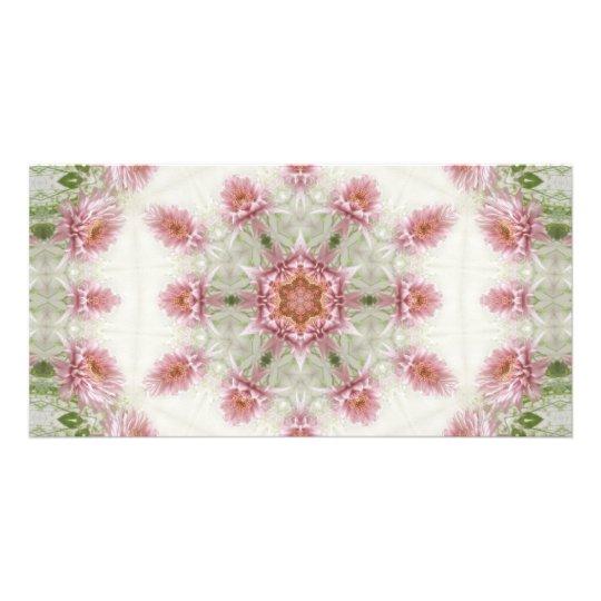 Pink Chrysanthemums Kaleidoscope Art 4 Card
