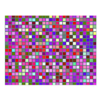 Pink Chunky Multicolored Square Tiles Pattern Postcard