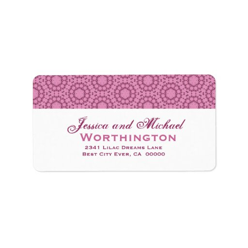 Pink circle flowers wedding template address label zazzle for Wedding mailing labels templates