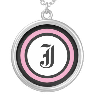 Pink Circle Initial Round Pendant Necklace