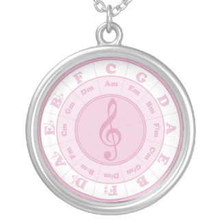 Pink Circle of Fifths Silver Plated Necklace