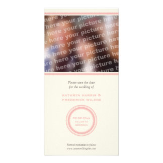 Pink circle wedding save the date announcement