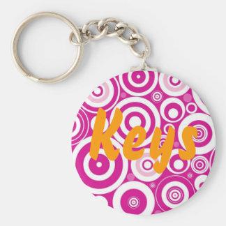 Pink circles Keyring Basic Round Button Keychain