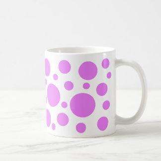 Pink circles on white coffee mug. coffee mug