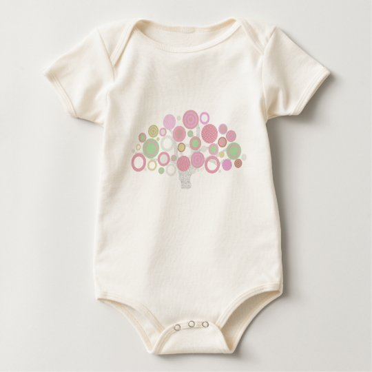 pink circles tree of life for baby girl baby bodysuit
