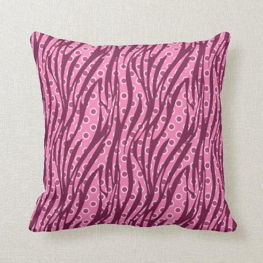 Pink Circles Zebra Print Pattern Pillow