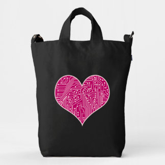 Pink Circuit Board Geek Love Heart Duck Bag