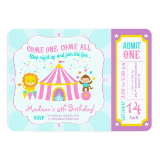 Pink Circus Carnival Birthday Party Ticket 5x7 Paper Invitation Card