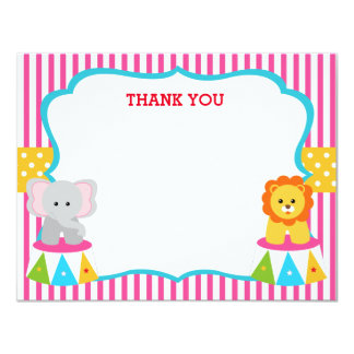 Pink Circus Carnival Birthday Thank You Note Cards