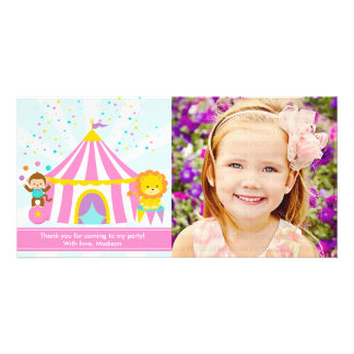 Pink Circus Carnival Personalized Thank You Photo Card