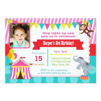 Pink Circus Carnival Photo Birthday Invitations