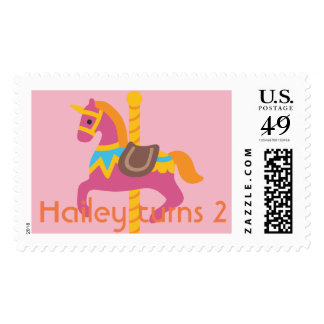 Pink Circus Carousel Theme Birthday Party Stamp