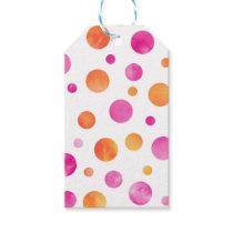 Pink Citrus Watercolor Polka Dots Gift Tags