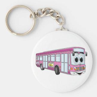 Pink City Bus Cartoon Keychain