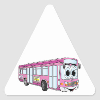 Pink City Bus Cartoon Triangle Sticker