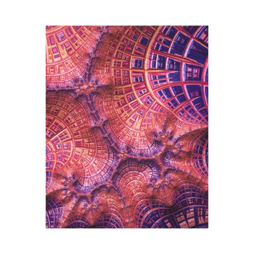 Pink City Sunrise With Windows Fractal Abstract Canvas Print