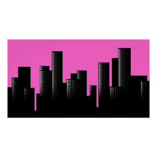 pink cityscape poster