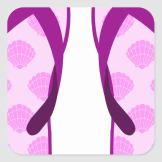 Pink Clam Flip Flops Square Sticker