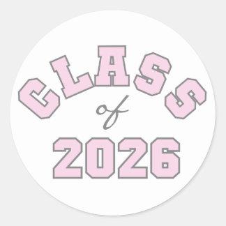 Pink Class of 2026 Classic Round Sticker