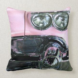 Pink Classic Car Throw Pillow