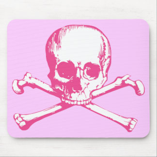Pink Classic Skull and Crossbones Mouse Pad