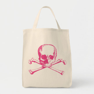 Pink Classic Skull and Crossbones Tote Bag