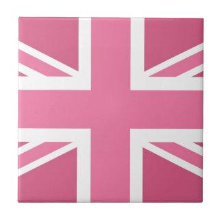 Pink Classic Union Jack British(UK) Flag Small Square Tile