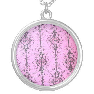 Pink classical round pendant necklace