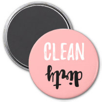 Pink Clean Dirty Dishwasher Pastel Brush Stroke Magnet