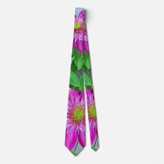 Pink Clematis Flower 2016 Neck Tie