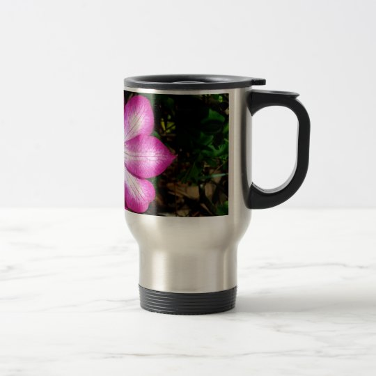 Pink Clematis Flower Travel Mug