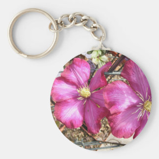 Pink Clematis Key Chains