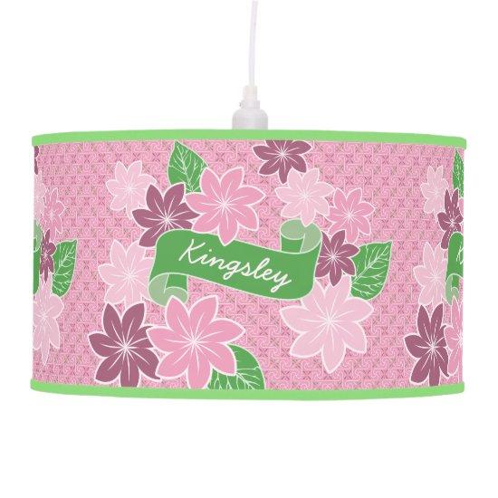 Pink Clematis Monogram Green Banner Japan Kimono Ceiling Lamp