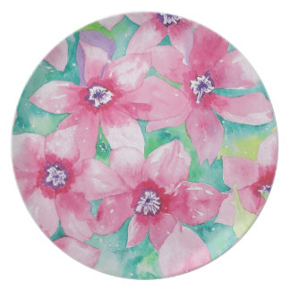Pink Clematis Watercolor Painting Dinner Plate
