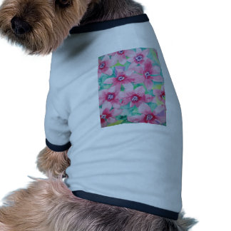 Pink Clematis Watercolor Painting Doggie T-shirt