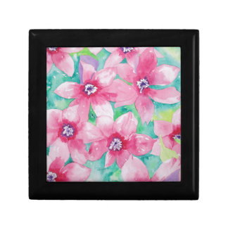 Pink Clematis Watercolor Painting Jewelry Box