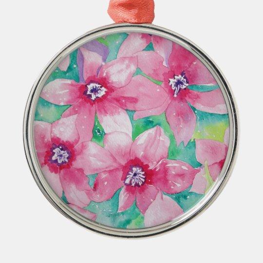Pink Clematis Watercolor Painting Metal Ornament