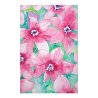 Pink Clematis Watercolor Painting Custom Stationery
